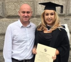 Kelly Meehan Brown with her dad at her graduation | Money lessons my father taught me