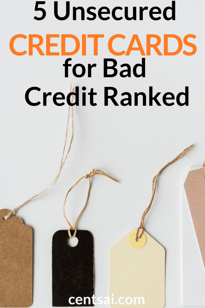 5 Unsecured Credit Cards for Bad Credit Ranked. So you're broke, and in desperate need to rebuild your damaged credit. We've got the best credit cards for bad credit right here. #CreditCardsBlogs #FinancialHardshipBlogs #InsufficientFunds